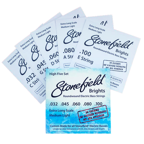 Stonefield Bass Guitar Stonefield Brights String Set Hi 5 Set
