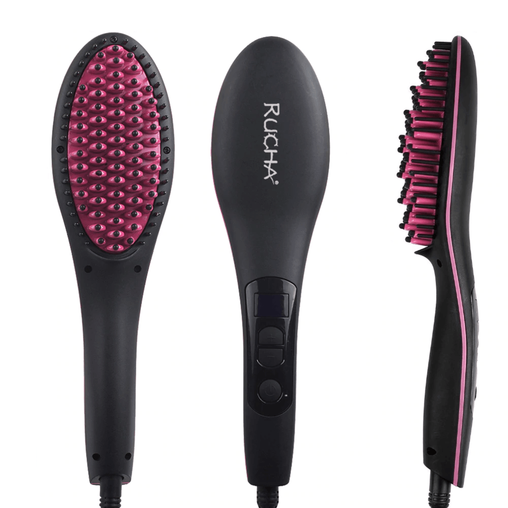 Hair Brush Straightener Flat Iron Brush
