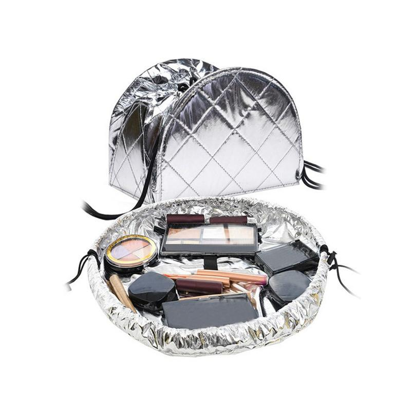 Pull it Together Metallic Makeup bag Silvery