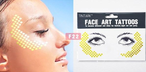 1pack Gold Face Flash tattoo