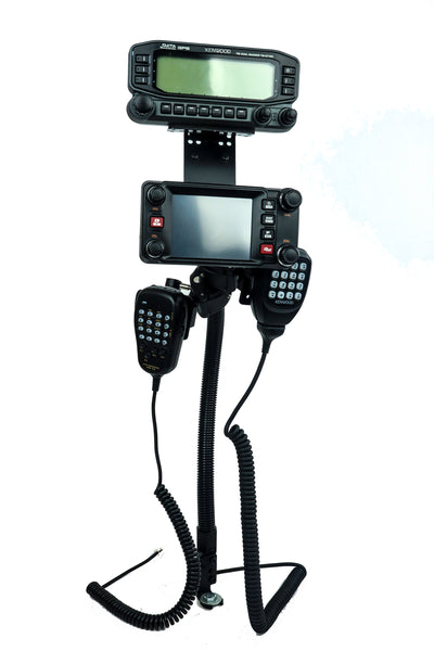 Seat Rail Mount With Multi-Device Holder and Mic mount for all transceivers