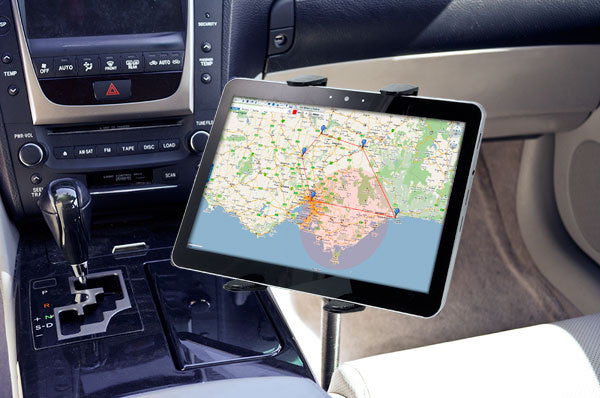 "Universal Tablet Car Mount | 18"" Seat Rail or Floor Mount"