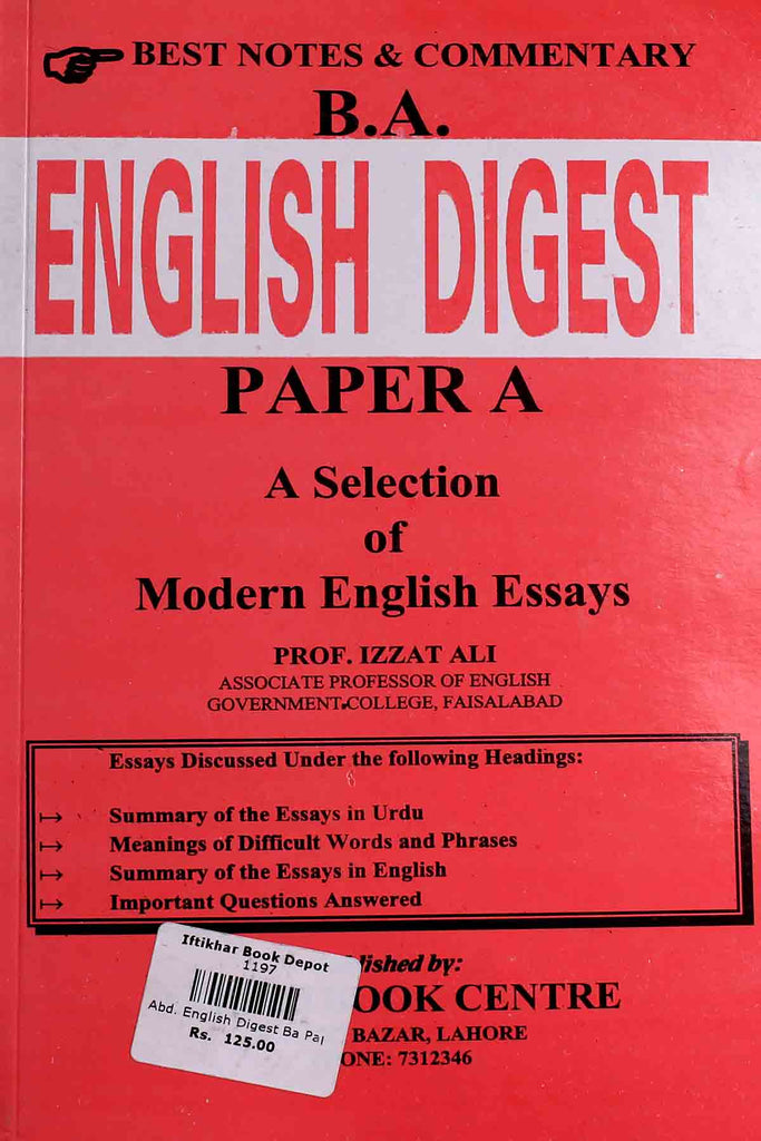 B.A English Digest Paper A Selection Of Modern English Essays (Key book)