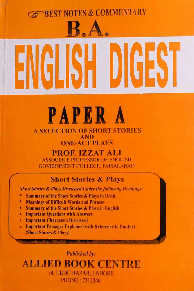 B.A English Digest Paper A  A Selection Of Short Stories And One Act Plays