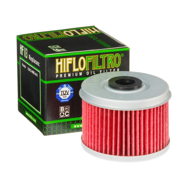 A HF113 Premium Hiflo Filtro oil filter for sale. This filter fits most Honda ATV's. Our online catalog has more new and used parts that will fit your unit!