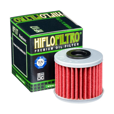 A HF117 Premium Hiflo Filtro oil filter for sale. This filter fit a variety of Honda ATV's. Our online catalog has more new and used parts that will fit your unit!