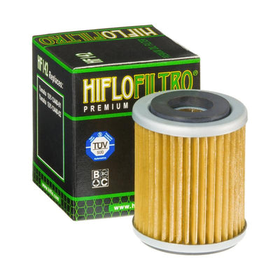 A HF142 Premium Hiflo Filtro oil filter for sale. This filter fits a variety of Yamaha dirtbikes and ATV's. Our online catalog has more new and used parts that will fit your unit!