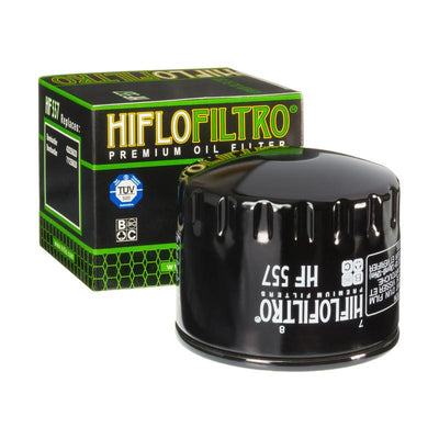 A HF557 Premium Hiflo Filtro oil filter for sale. This filter fits a variety of Bombardier ATV's. Our online catalog has more new and used parts that will fit your unit!
