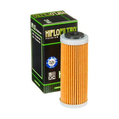A HF652 Premium Hiflo Filtro oil filter for sale. This filter fits a variety of KTM dirtbikes. Our online catalog has more new and used parts that will fit your unit!