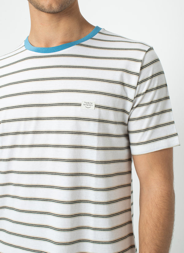 B.Thankful Tee White Stripe