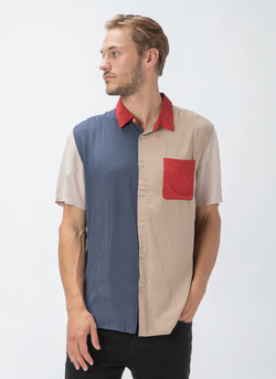 Holiday Short-Sleeve Shirt Colour Block - Sale