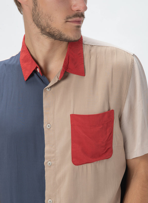 Holiday Short-Sleeve Shirt Colour Block