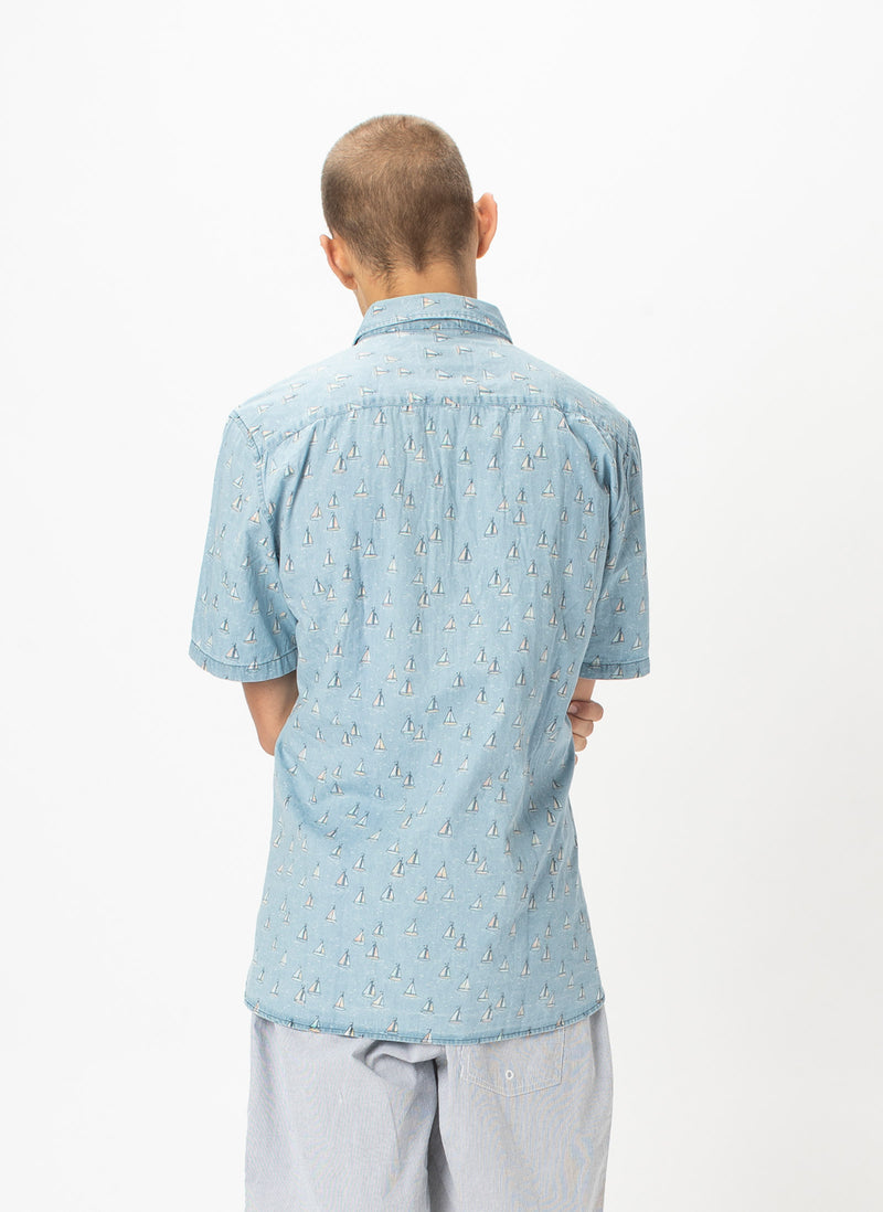 Holiday Short-Sleeve Shirt Indigo Yachts - Sale