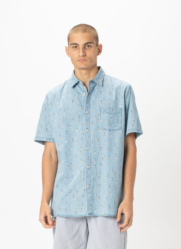 Holiday Short-Sleeve Shirt Indigo Yachts