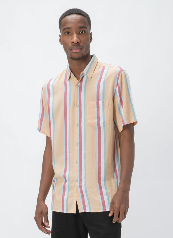 Holiday Short-Sleeve Shirt Mustard Vert Stripe - Sale