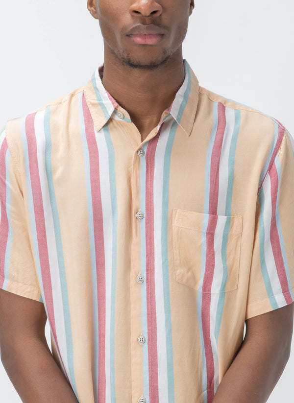 Holiday Short-Sleeve Shirt Mustard Vert Stripe