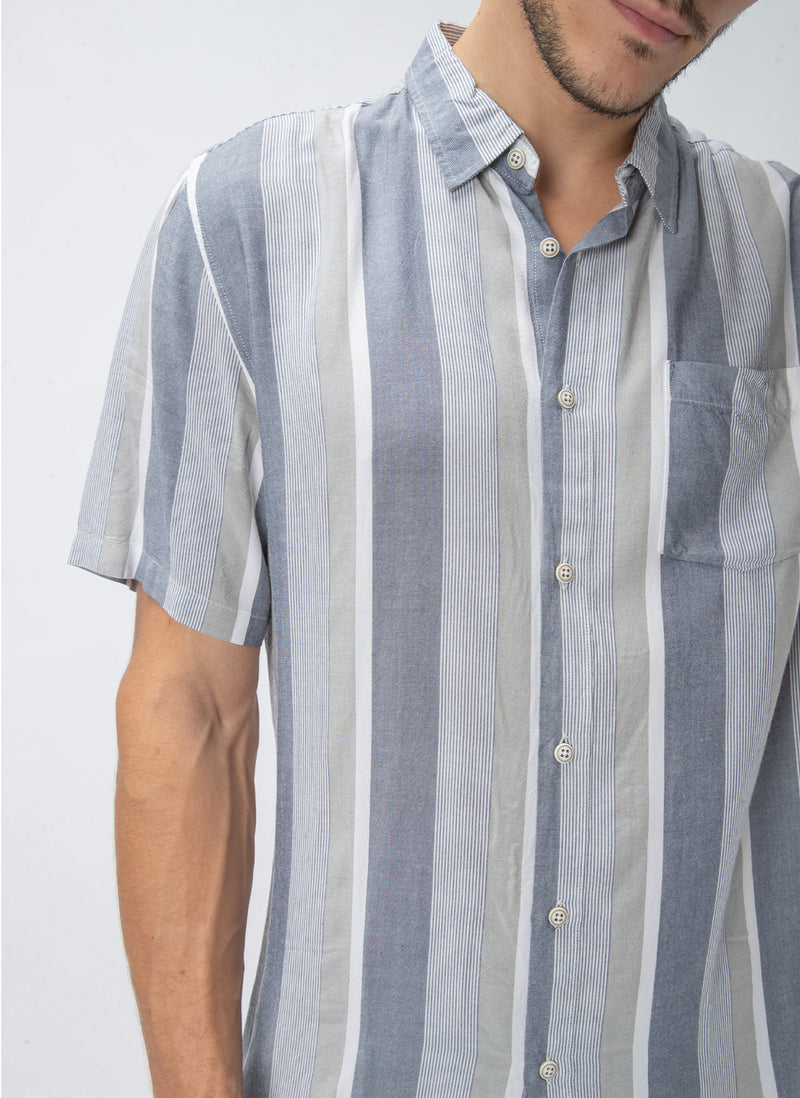 Holiday Short-Sleeve Shirt Navy Vert Stripe - Sale