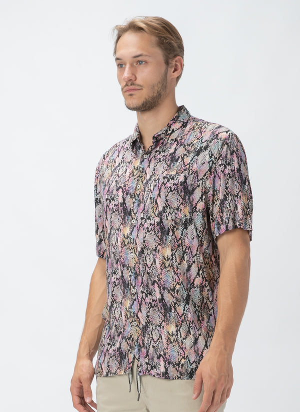 Holiday Short-Sleeve Shirt Pink Snake