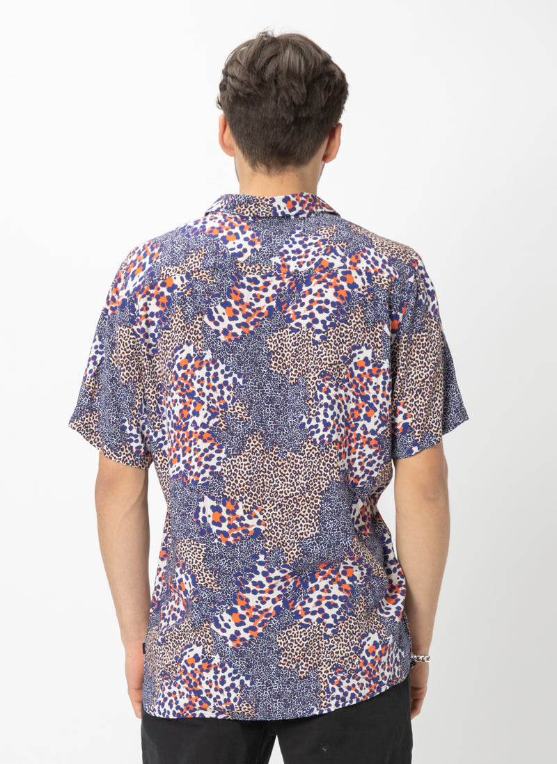 Holiday Short Sleeve Shirt Neon Leopard
