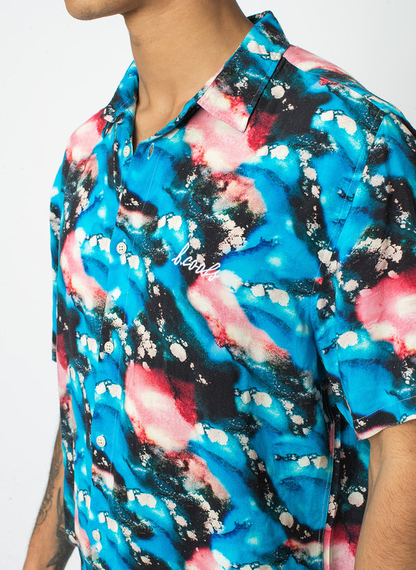 Holiday Short Sleeve Shirt Blue Marble