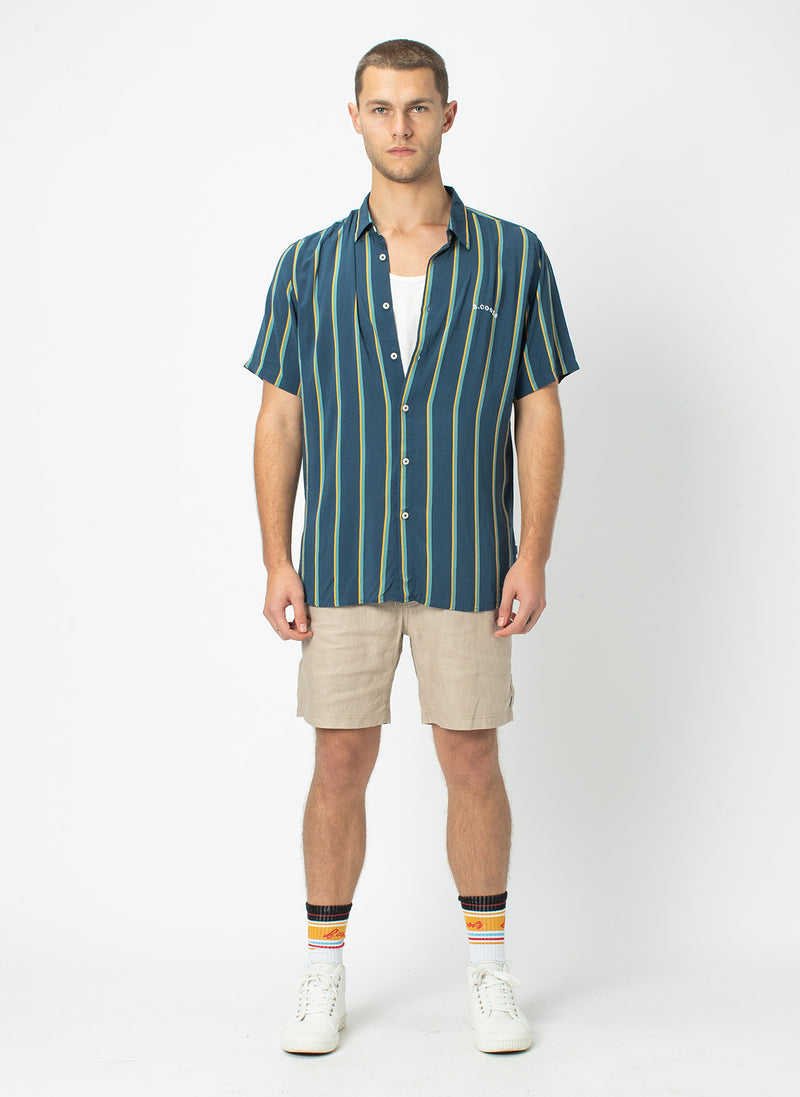 Holiday Short-Sleeve Shirt Navy Vert Stripe