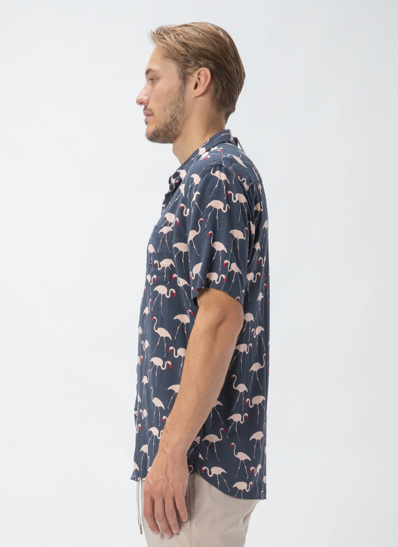 Holiday Short-Sleeve Shirt Flamingo