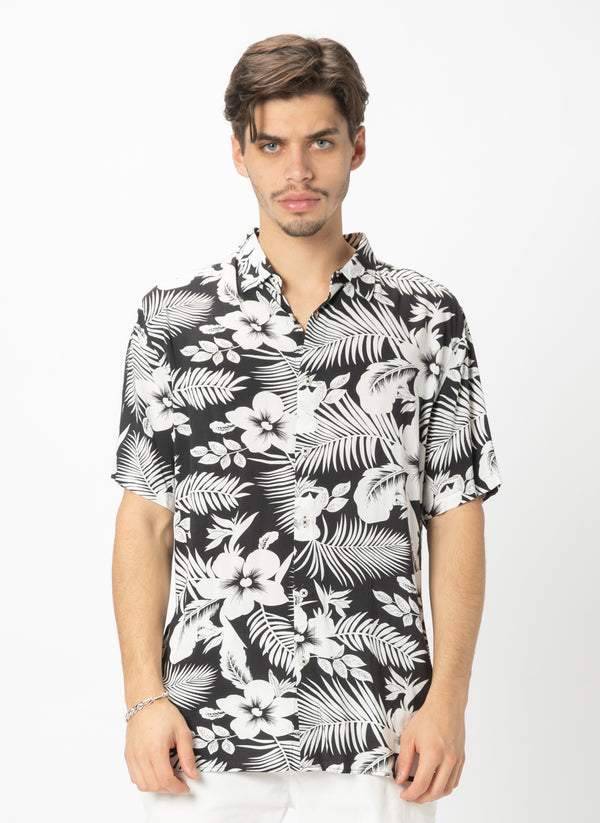 Holiday Short Sleeve Shirt Black Floral - Sale