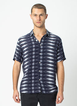 Holiday Short-Sleeve Shirt Aztec Navy