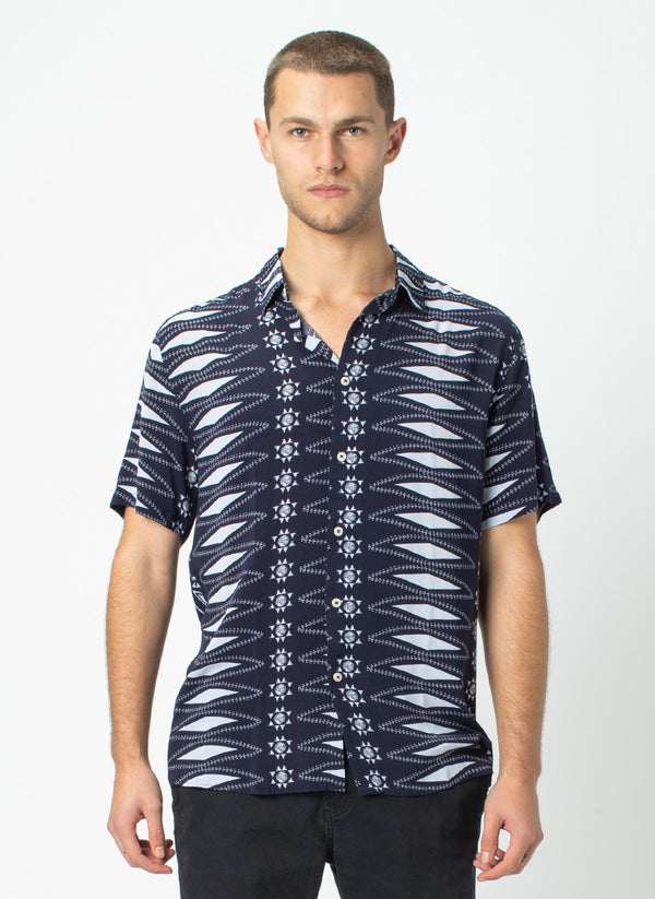 Holiday Short-Sleeve Shirt Aztec Navy - Sale