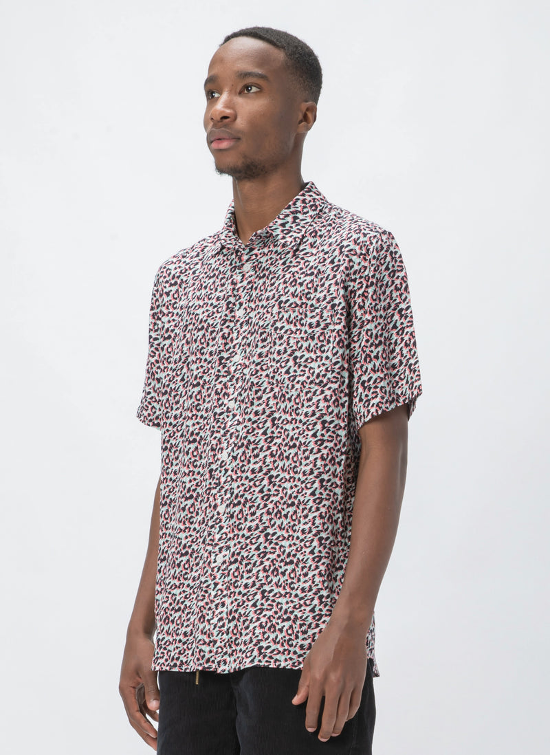 Holiday Short-Sleeve Shirt White Leopard
