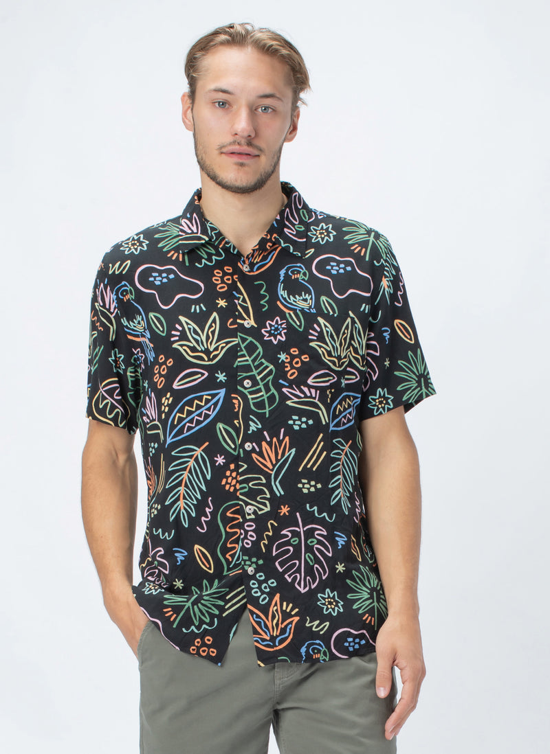 Holiday Short-Sleeve Shirt Black Tropics