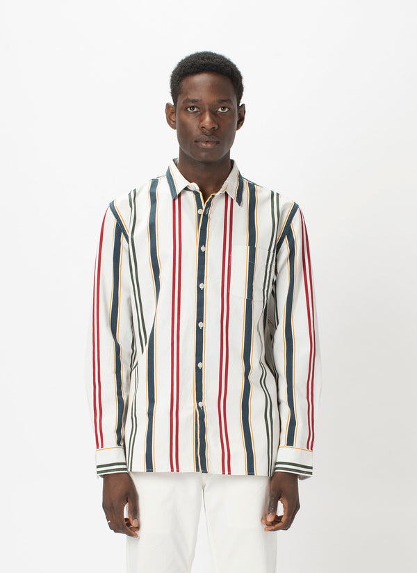 Cabin Long-Sleeve Shirt White Vert Stripe