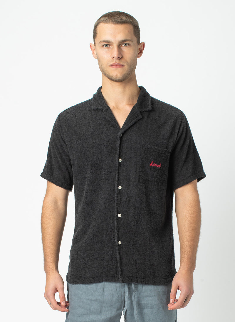 Holiday Short Sleeve Shirt Black Terry - Sale