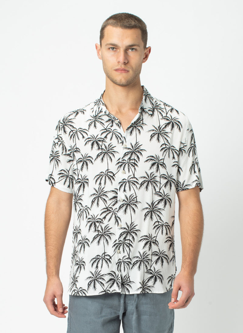 Holiday Short-Sleeve Shirt White Palms - Sale