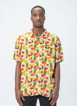 Holiday Short-Sleeve Shirt Fruit Print