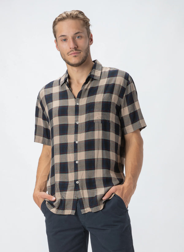 Holiday Short-Sleeve Shirt Beige Check