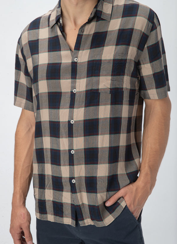 Holiday Short-Sleeve Shirt Beige Check - Sale