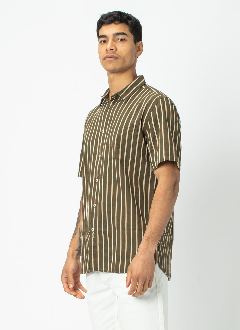 Holiday Short-Sleeve Shirt Army Stripe