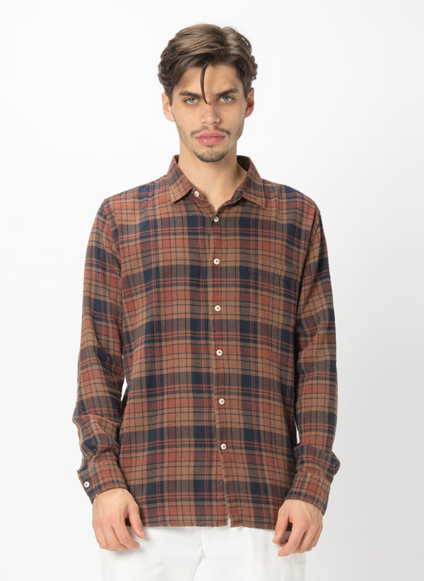 Cabin Long Sleeve Shirt Rust Plaid - Sale