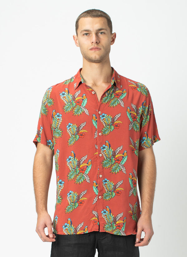 Holiday Short-Sleeve Shirt Red Parrot