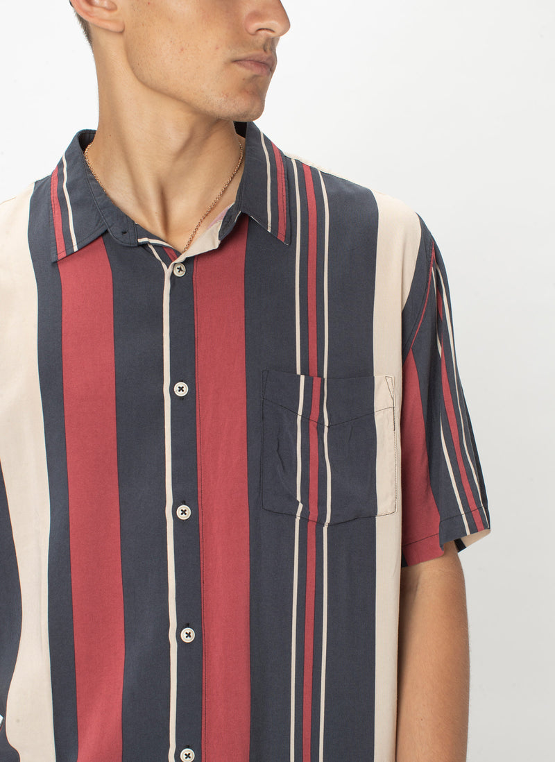 Holiday Short-Sleeve Shirt Red Vert Stripe