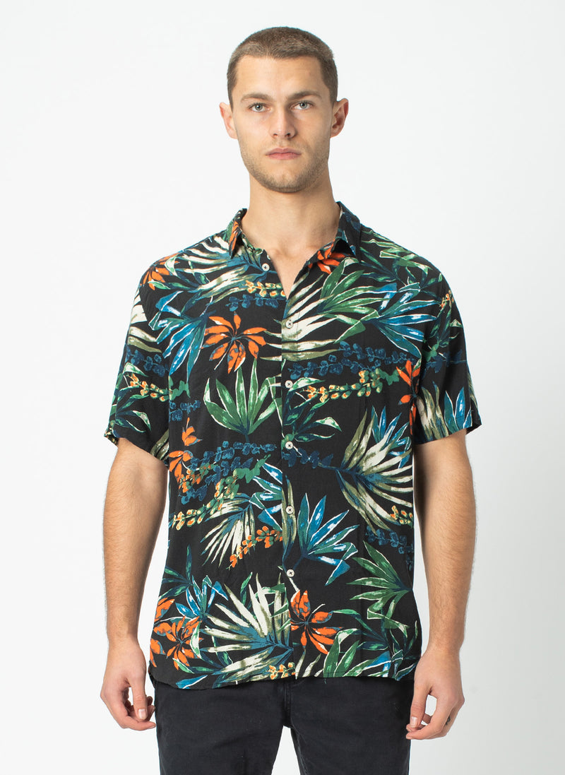 Holiday Short-Sleeve Shirt Black Tropics - Sale