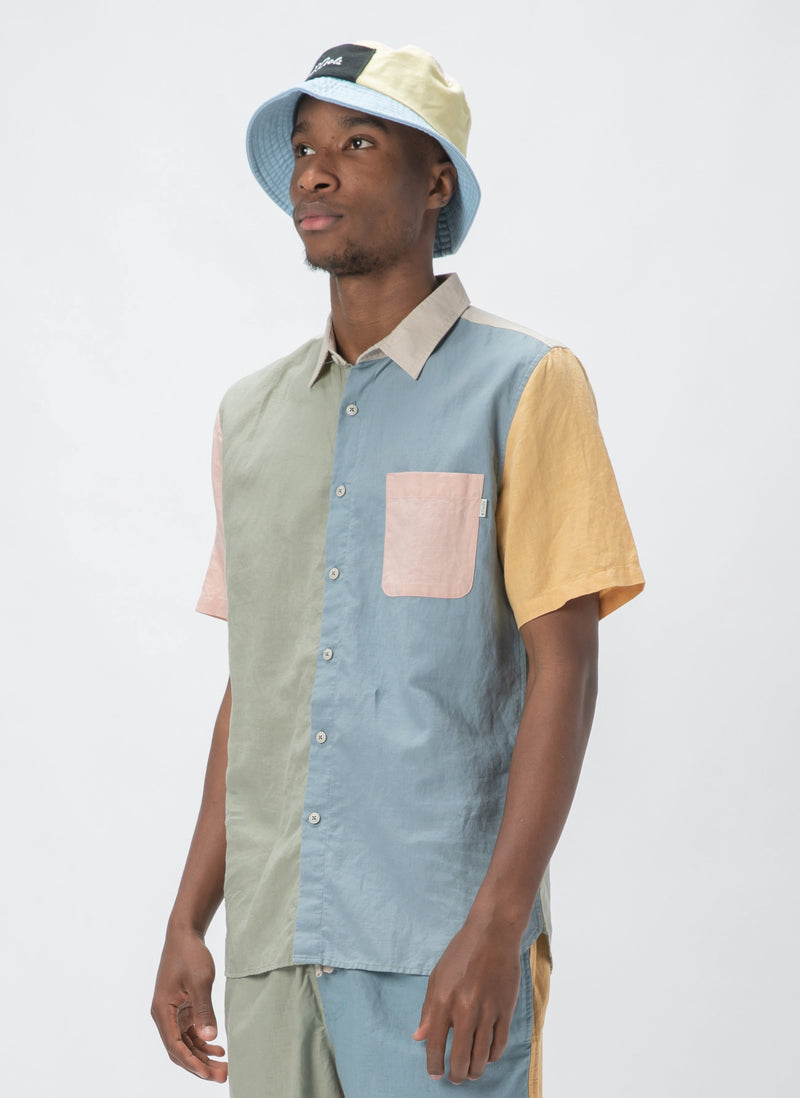 Holiday Short-Sleeve Shirt Pastel Colour Block