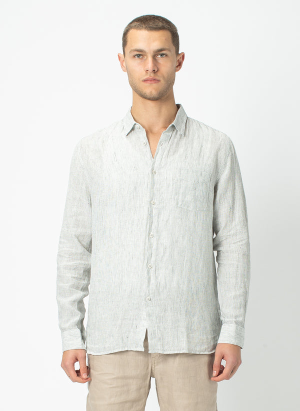 Cabin Long Sleeve Shirt Linen Stripe