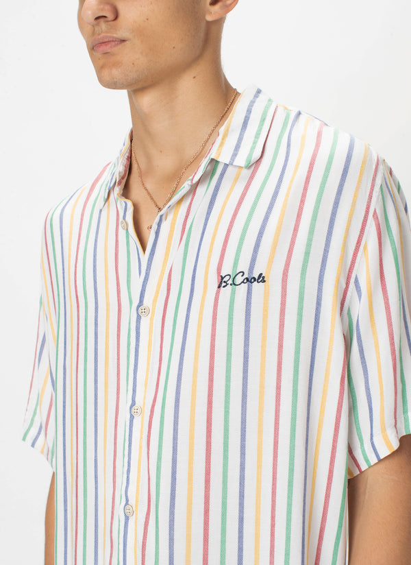 Holiday Short-Sleeve Shirt White Stripe