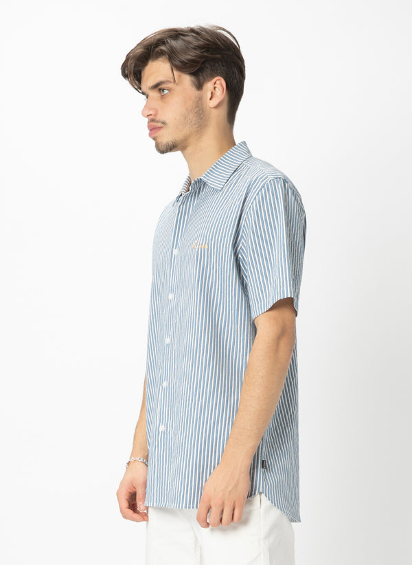 Holiday Short Sleeve Shirt Indigo Stripe