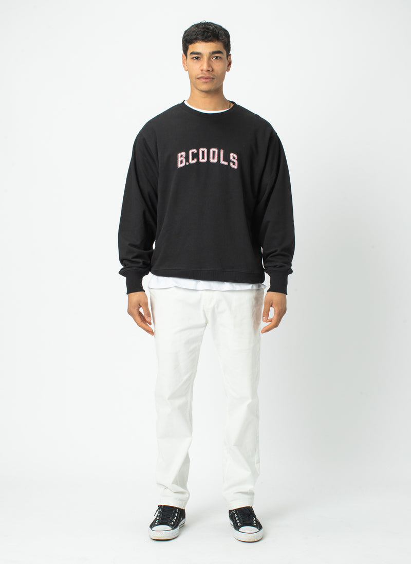College Crew Sweatshirt Black