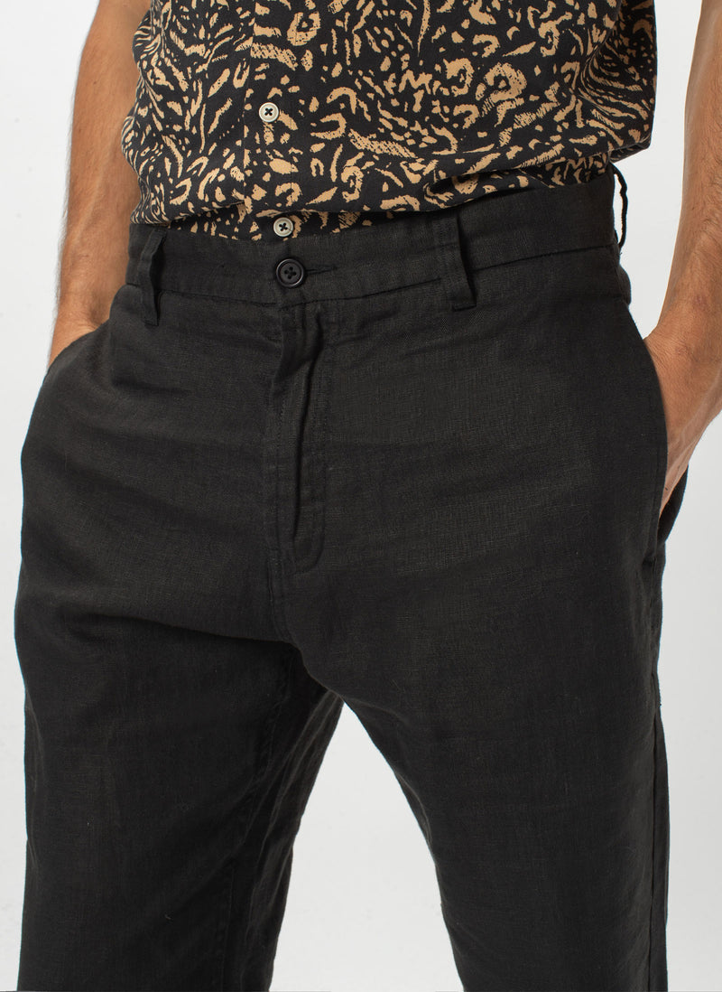 B.Relaxed Pant Black Linen