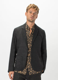 Poolside Jacket Black Linen