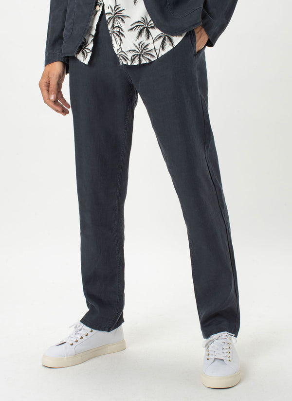 B.Relaxed Pant Navy Linen